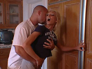 Blonde sexy whore wife is fcuked by her lover in a kitchen. Tasty video