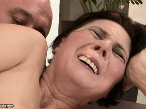 Mature Margo has his cock in her fur pie and a vibrator teasing her girly nub