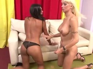 Blonde tranny is fucking a filthy shemale anal