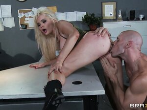 Hot blonde pornstar Alexis Ford gets bend over the table and then drilled hard from behind