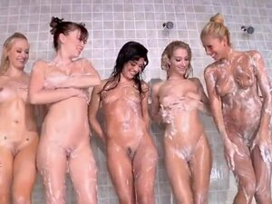 Wonderful lesbians got totally naked and all hot in a bathroom. Alexis Capri, Alyssa Reece, Capri Anderson, Clara G, Lux Kassidy and Sammie Rhodes are washing each other.