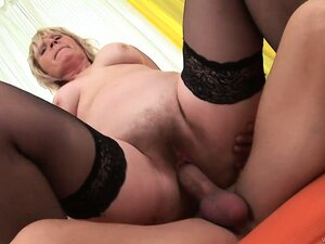 Ancient, horny blonde granny is getting her fur burger drilled
