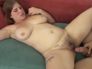 Busty babe with hairy pussy getting fucked hard