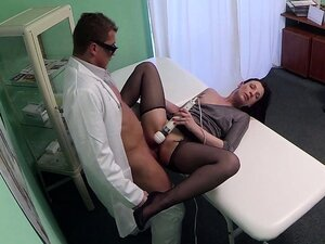 Real patient with toy while fucking doc