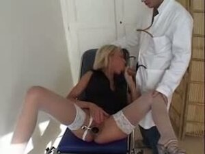 Lascivious blonde babe getting pounded by gynecologist