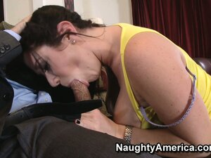 Brunette slut Jayden Jaymes jumps at the chance to suck his stick and get fucked