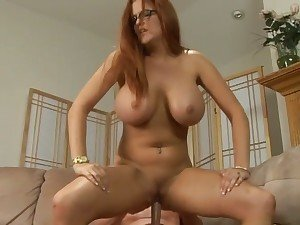 Big titted Kitty Caufield bounces her dripping wet snatch on massive hard dick