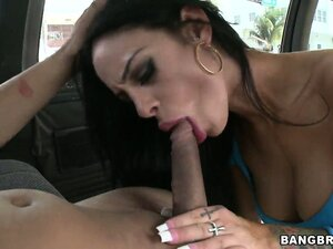 MILF with sexy tattoos smokes a cock while riding the Bangbus