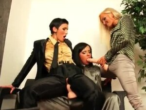 Fully clothed strapon sex with three lesbians