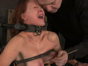 Hardcore bdsm scene with pressed boobs