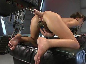 Horny Slut Getting Her Butthole Destroyed by a Fucking Machine
