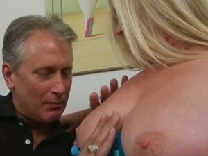 BBW blonde curvy MILF greedily sucks old man's big long cock
