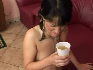 Chick Drinks Black Dude's Pee From Cup Sucks His Dick & Gets Fucked