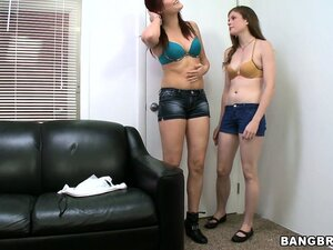 Two brunette teens casting together and playing with dildos is hot