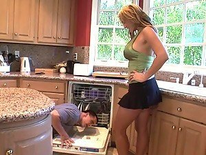 Horny blonde Trina fucks with her neighbour on the coffee table