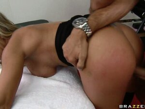 Bending over, the elegant hot blonde gets fucked deep from behind