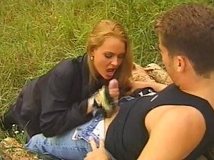 Cock Sucking Blonde Nikki Anderson Gives A Great Blowjob Outdoors