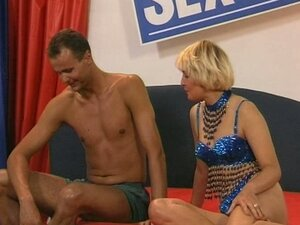 Horny german blonde bithch rammed hard in a bed
