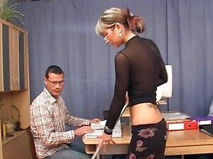 Babe with the glasses gets doggy style gang bang