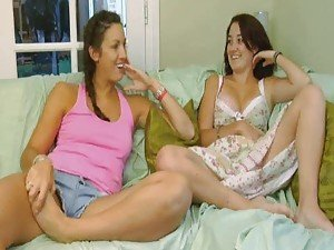 Two scenes of girls masturbating together