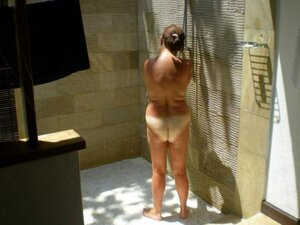 spycam the mother of my wife in shower on bungalow