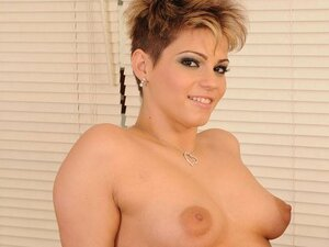 A cute, short haired chick gets busy with her man with the camera riding him rough