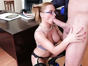 Katja pulls out her big tits and starts to suck big dick!