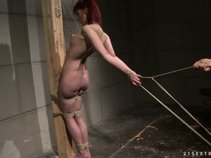 Personal redhead slave gets tied up and tortured, then sucks his cock