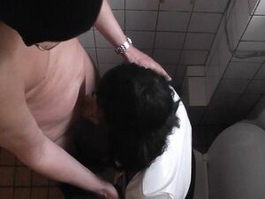 Amateur gets gangbanged in the public restroom