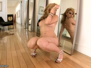 Hot blonde with a big ass sticks a monstrous dildo into her cunt