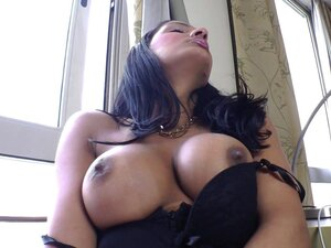 Sizzling shemale gets her massive melons out