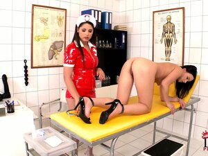 Nasty nurse spreads and stretches her ass for the Doctor's tools