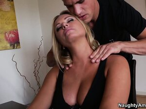 Astonishing blonde Briana Banks can't resist a young stud with a huge cock