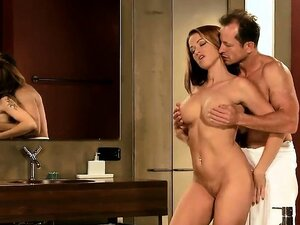 Busty hot brown haired babe creampied in bathroom
