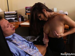Busty secretary gives her boss head and gets fucked over a desk