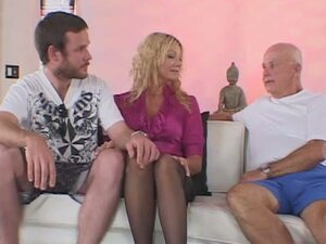 Busty blonde wife drilled by a stranger while her husband watches