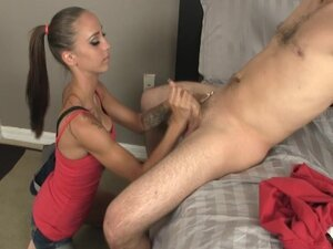 Slender babe with pigtail gives a perfect blowjob