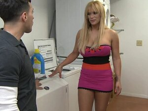 A blonde slut of a mom hires a plumber to fix her washing machine and rides him