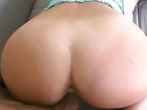 Bootylicious sexy brunette with back tattoo gets nailed doggy style