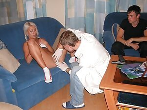 Valya meets her doctor to check up on her slit ? soon that examining of hot 18 y.o. body turns into sex action that Valya has for the first time in her life. The doctor is a very tender guy ? he kisses and rubs all her body and pussy before squeezing his