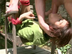 Petite Latina slut Zoey is tied up and fucked in forrest