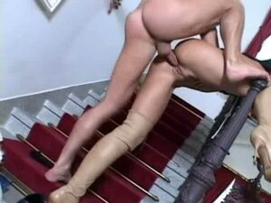 Susie Diamond a euro slut that gets her pussy fucked hard on the stairs