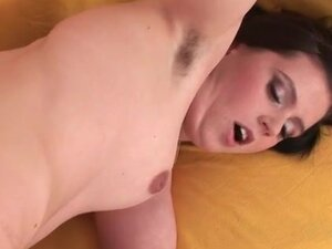 Hairy pussy of a hot slut fucked from behind