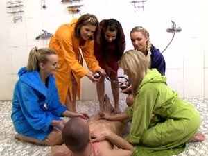 Cfnm voyeur fucks hot teens in robes