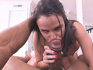 If you are the blowjob movie fanatic then horny brunette bitch Daisy Duxes is the one to slake your wanton fancies! Here she is seen slobbering on corn-fed ebony cock and getting face-fucked by it like anything! She is virtual cock vamp I can tell!