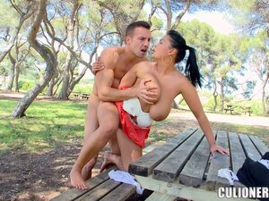 This mama with humongous hooters is fucked outdoors