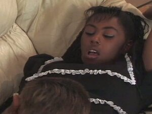 Cute teen black maid gets her pussy cleaned up