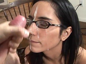 Nerdy Brunette Getting Her Glasses Covered In Cum After Blowjob