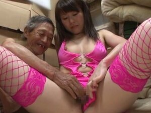 Foxy Japanese Girl Wears Fishnet Stockings to Please and Old Man