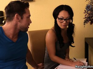 Asian cutie Asa Akira interviews dude then gives him some head